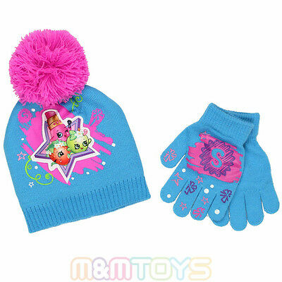 New Girls Team ShopKins Teal Beanie Cap Hat And Gloves 2pc Set for Kids