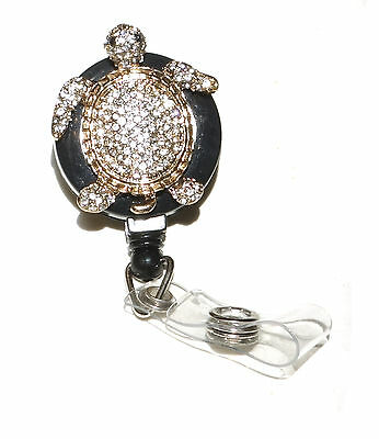 Rhinestone Retractable ID Name Tag badge holder reel - Golden Gold Sea Turtle