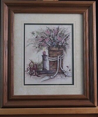 Pat Richter Print Life Has A Rosy Glow Signed & Framed Floral Impressionism