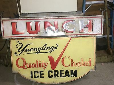 Big Pottsville Pa Yuengling's Ice Cream Dairy Beer Bottle Double Sided Milk Sign