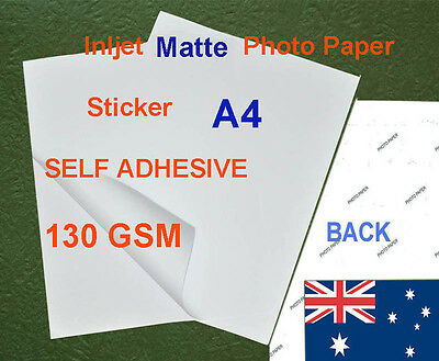 30 sheets A4 130GSM Inkjet Matte Photo Paper Sticker Adhesive ( Back Marked )