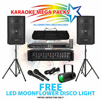 Karaoke Party Mega Pack CD+G DVD Player Mics Speakers Amplifier FREE Disco Light