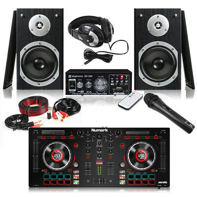Pair Monitor Speakers Amplifier Numark Mixtrack Platinum Mixer Controller DJ Kit