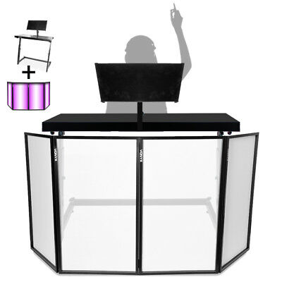 DJ Mixing Console Table Stand w/ Vonyx Foldable Lighting Screen 4 Panel Façade