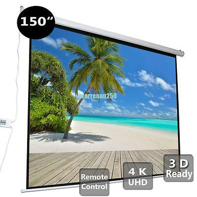 """150""""Portable Electric Motorized Projector Screen Theatre HD Dispaly 4:3 or 16:9"""
