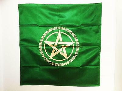 "Altar Cloth Green With Gold Pentagram / Celtic Knot Large 42"" x 42"" Brand New"