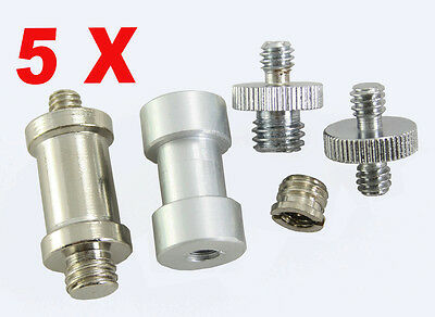 """Premium 5 in 1 kit Convert Screw Thread Adapters 1/4""""to 3/8"""" for Stand DSLR 5PCS"""