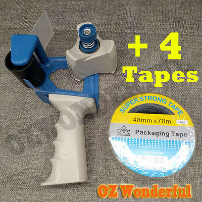 1x Packaging Sticky Tape Dispenser Gun + 4x , 12x Rolls Clear Packing Tapes
