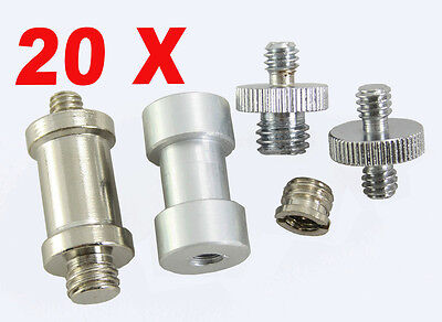 """Premium 5 in1 kit Convert Screw Thread Adapters 1/4""""to 3/8"""" for DSLR Stand 20pcs"""