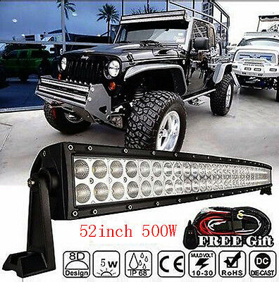 """400W 52"""" Curved CREE Led Work Light Bar Spot Flood Combo Lamp Offroad SUV Jeep"""
