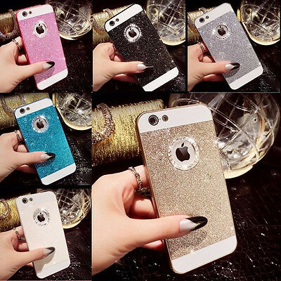 Bling Glitter Crystal Hard Back Phone Case Cover Skin For iPhone 4s 5s 6+Plus SE