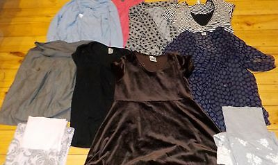 11 Maternity Clothes  Tops Skirt Dress 2 Trousers Pants Angel Bub2Be Egg Size 10