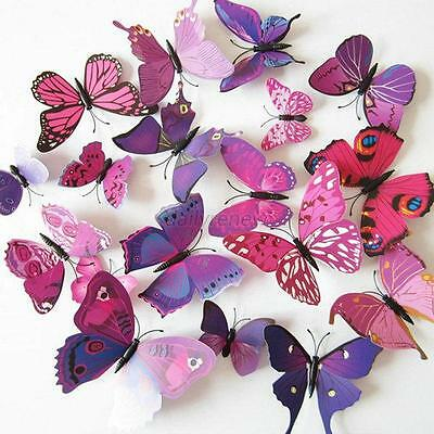 DIY Wall Sticker 3D Flower Butterfly Removable Art Mural Home Kids Room Decor