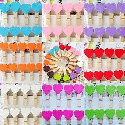 50Pcs Wooden Mini Heart Pegs Photo Clip for Wedding Decor Craft Party Xmas Table