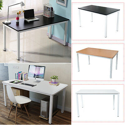MDF Wooden Computer Desk Home Office Writing Study Table Workstation Metal Legs