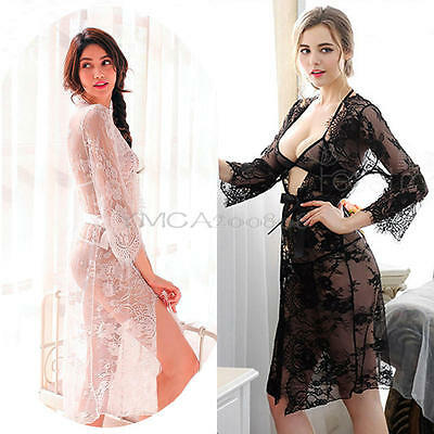 Sexy Lingerie Set Women Lace Robe Dress Babydoll Underwear Nightwear Sleepwear