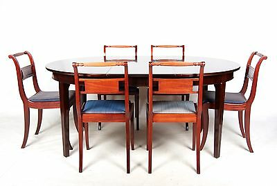 Antique Dining Table and Chairs Mahogany 6 Dining Chairs Fine Quality Regency Re