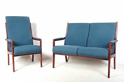 Vintage Danish Sofa and Armchair Rosewood Sofa 2 Seater Sofa Lounge Chair Blue S