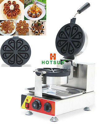 Commercial Non-stick Electric Rotated Ice Cream Waffle Bowl Maker Iron Machine