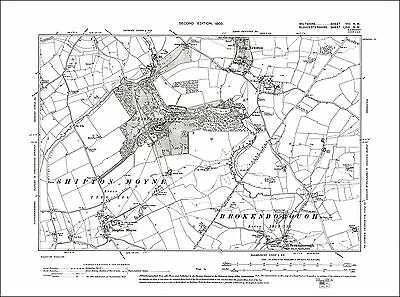 Brokenborough N, Long Newton S, old map Wiltshire 1903: 8NW repro