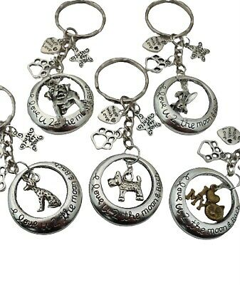 DOG CAT PET ANIMAL I Love You To The Moon & Back Paw Print Keyring *Huge Choice*