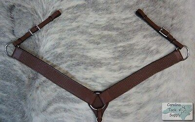 DARK OIL Western Leather Breast Collar W/ Basketweave Tooling! NEW HORSE TACK!!
