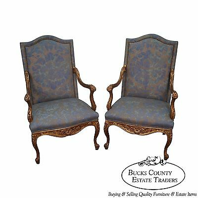 Custom Quality Pair of French Louis XV Style Carved Gilt Arm Chairs