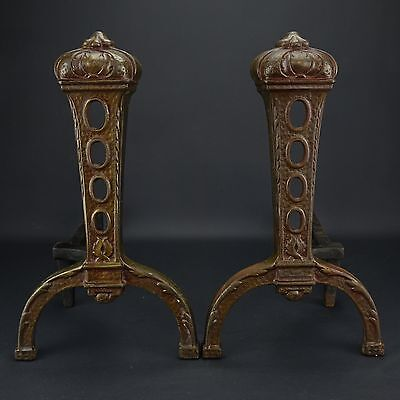 Antique Vintage Cast Iron Andirons Fire Dogs Fireplace Insert Log Holders Ornate