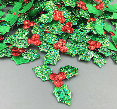 100pcs Holly Berries and leaves Appliques for Christmas Decoration 36mm