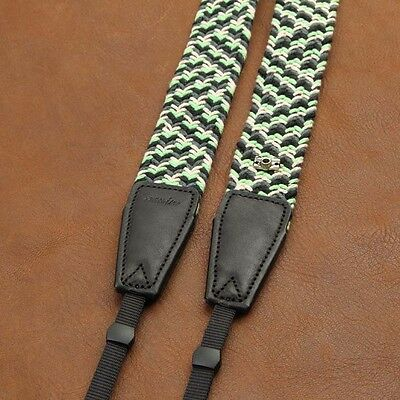 Black/Grey/White/Green Woven Cotton Cam-in DSLR Camera Strap CAM8797 UK Stock