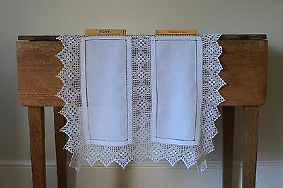 Beautiful Vintage White Linen Tablecloth Runner Hand Crochet Lace