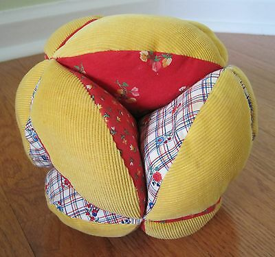Hand made vintage fabric quilted ball baby toy plush stuffed child toddler