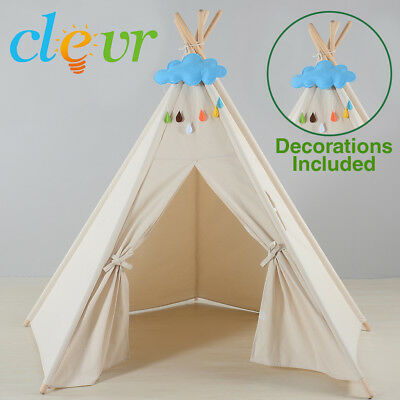 Clevr 5-sided 6' Kids Teepee Play Tent Ready-to-Paint Canvas w/ Decorations
