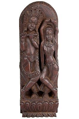 Indien 20. Jh. Holzrelief -An Indian Wood Relief Radha & Krishna - En Bois India
