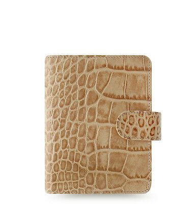 Filofax Classic Croc Pocket Size Organizer/Planner Taupe/Fawn Leather - 026010