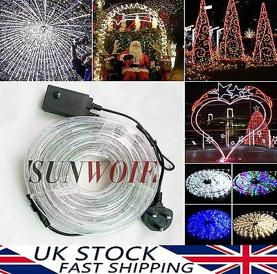 Xmas Party Waterproof Outdoors 10 M Shining LED Lighting Flexible Rope Lights UK