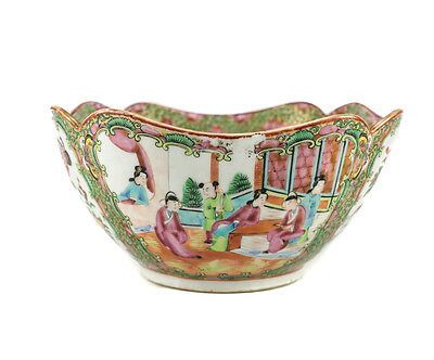 Chinese Rose Canton Famille Rose Square form bowl, 19th century hand painted