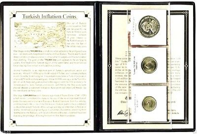 Turkey 3 Inflation Coins With Album, Certificate and Story,Uncirculated Set