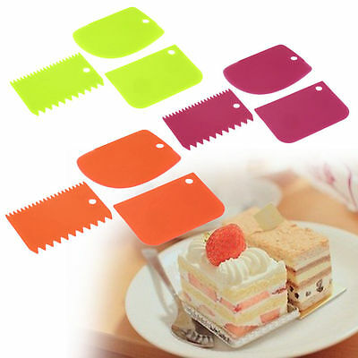 3 pack Cake Edge Side Scraper Plastic Cutter Butter Cream Smoother Tools UK