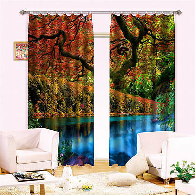 Mysterious Woods Lake 3D Curtain Blockout Photo Curtains Print Home Window Decor