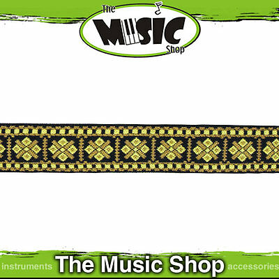 "New LM Retro Series 2"" Cotton Banjo Strap - Gold/Brown Pattern - LMBJ4"
