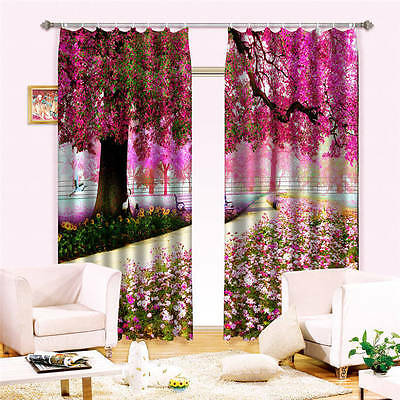 Red Flowers Leaves 3D Curtain Blockout Photo Curtains Print Home Window Decor