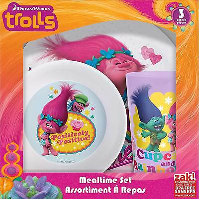 Trolls- 5 Pc. Plate, Bowl & Cup  Set. Includes Spoon & Fork