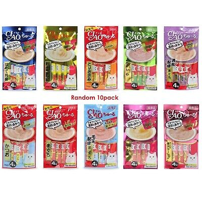40pcs CIAO Churu Cat Lick Snacks Fillet 10 type x 4pcs Flavor Cat Food