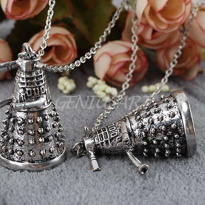 2pcs Men Vintage Tower Shape Pendant Necklace Metal Alloy Chain Jewelry Gift