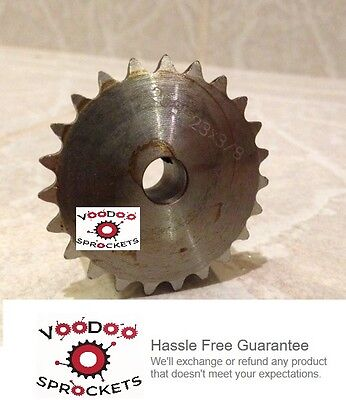 """25B23 1/4"""" Pitch, Chain Size 25, Finished Bore Sprocket, 3/8"""" Bore 2 Set Screw"""