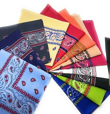 LOT OF 12 PCS Mix Color Bandana Head Wrap Scarf 100% Cotton.