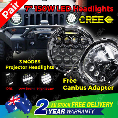 Pair Cree LED Headlights 7'' Round 150W Jeep Wrangler Harley Motorcycle H/L/DRL