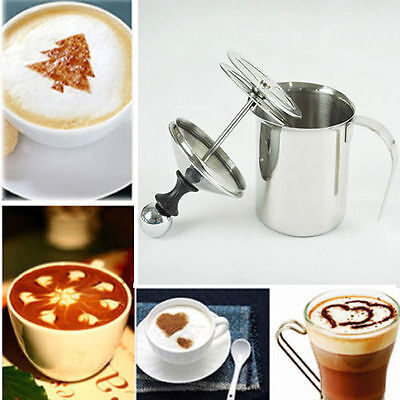 400ML Stainless Steel Pump Milk Frother Cappuccino Frother Double Froth Foamer