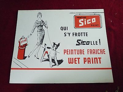 Vintage SICO WET PAINT advertising SIGN - LADY AND DOG - french and english
